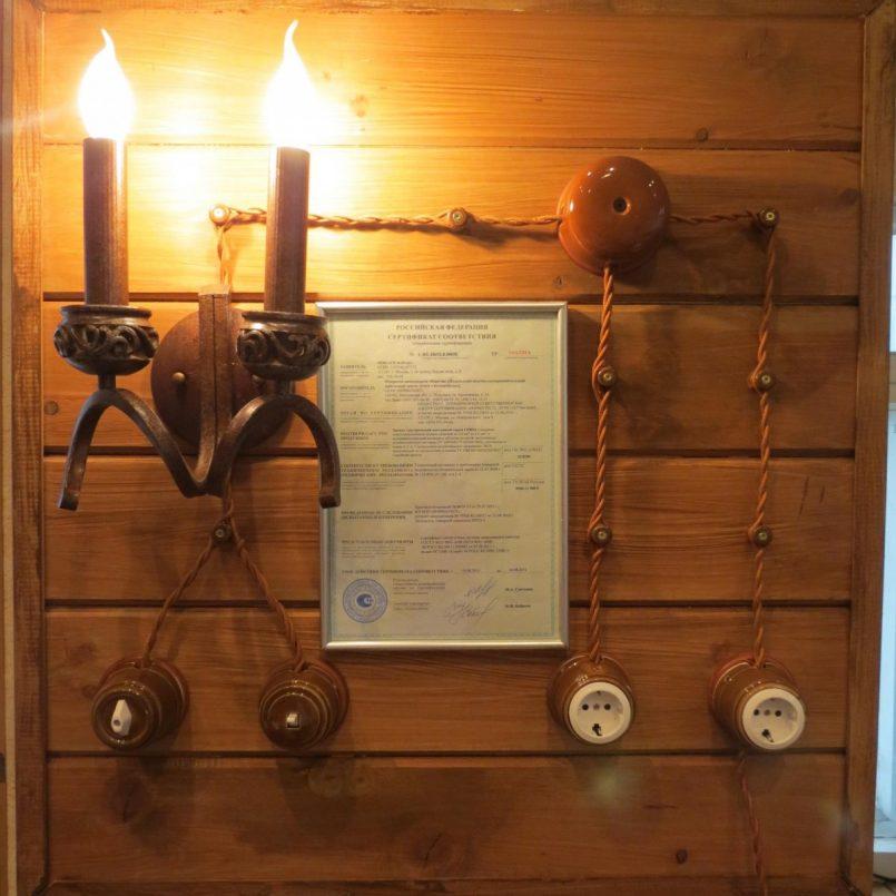 Кабель под старину в деревянном доме